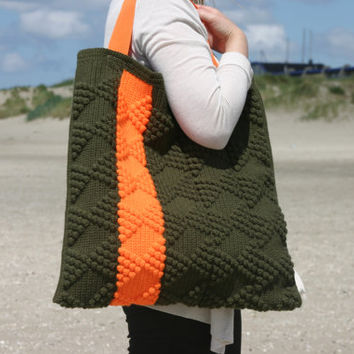 crochet handbag, geometry bag, military green bag, orange, shoulder bag, bow motive bag, tote bag, vilka,triangles, hobo bag, urban bag