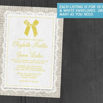 Yellow Country Burlap Wedding Invitations | Invites | Invitation Cards