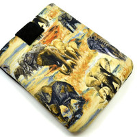 Hand Crafted Tablet Case from Elephants  Fabric /Case for:iPadmini, Kindle Fire HD7, Samsung Galaxy Tab7, Google Nexus 7,Nook HD 7