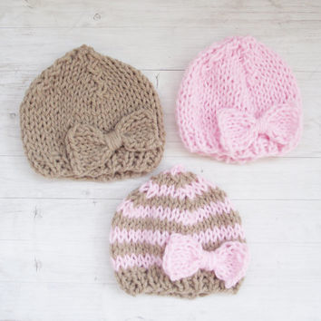 Hand Knitted Newborn Hat /  Baby Girl Hat / Newborn photo props / Bow Hat / baby Clothing /  White, Pink, Brown, Stripes