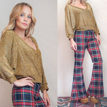 80s Deep V Gold Sparkly Long Sleeved Top - Size S M| Cropped Metallic Dolman Bellowy Poet Sleeve V Neck Blouse | Disco Holiday Party Shirt
