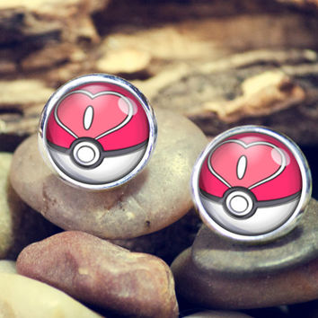 Love Ball Pokeball earrings,pokeball earrings,pokemon earrings,eevee earrings,earrings,anime,silver ear studs, stud earrings,12mm earrings