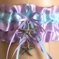 Orchid Purple and Blue Wedding Garter Set, Prom Garter Set