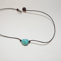 Summer Turquoise Nugget Bead on Black or Brown Leather Cord Choker Necklace - Made in USA