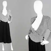 Vintage 80s MANI by ARMANI Made in Italy Woven Linen Jacket Black & White Monochrome Jacket 80s Smart Blazer Cardigan Suit Jacket Designer