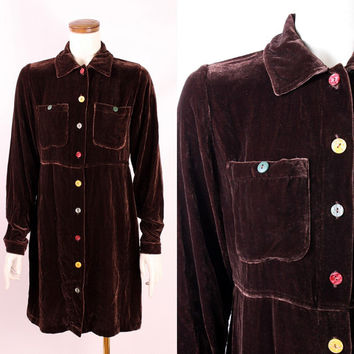 Vintage - 90s - Chocolate Brown Velvet - Multi Color Button Up Collar Long Sleeve Short Baby Doll Dress - Grunge