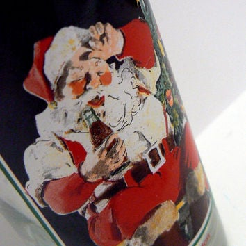Coca Cola Santa Krystal Promotional Tea Glass Tumbler Collector Edition Christmas Picturing the Vintage Look Santa Claus 1995 Coke Pop