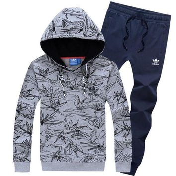 NOV9O2 Adidas Top Sweater Pullover Hoodie Pants Trousers Set Two-Piece Sportswear-1