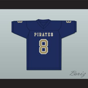 Delrick Abrams 8 Independence Community College Pirates Dark Blue Football Jersey