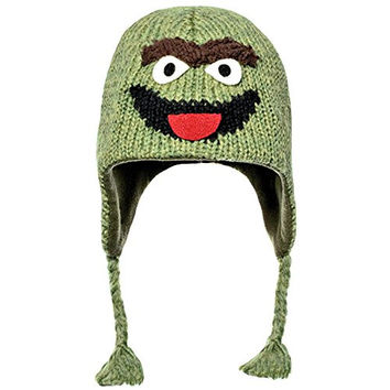 Knitwits Big Kids' and Adults' Oscar the Grouch Fleece-Lined Wool Pilot Hat