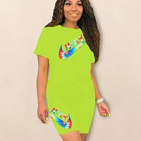 NIKE New fashion multicolor letter hook print top and shorts two piece suit Fluorescent Green