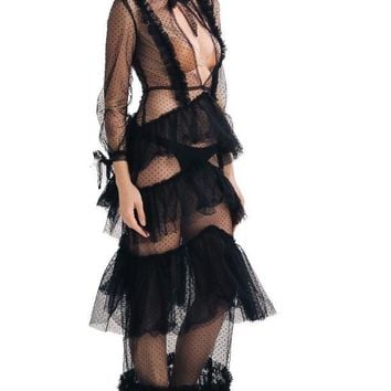 """""""Renowned"""" sheer ruffle layer couture maxi dress"""