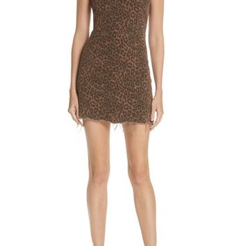 T by Alexander Wang Leopard Print Denim Dress | Nordstrom