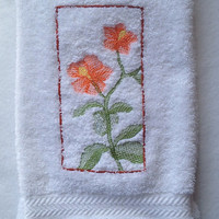 Melon Color Hibiscus Soft Shadow Embroidered On a White Bathroom Hand Towel Please visit my Etsy store for more towels. #towel #hibiscus
