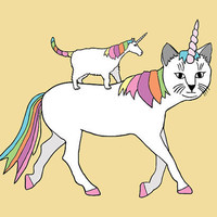 CatUnicorn riding UnicornCat 5x7 print by linedraw on Etsy