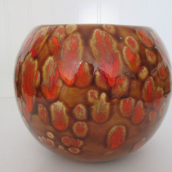 Drip Pottery Bowl, Brown and Orange Drip Pottery Bowl, Retro Orange and Brown Hand Painted Bowl