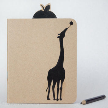 Giraffe Silhouette Notebook - Custom notebook, Eco friendly, Giraffe, Recycled paper, Journal, Notepad, Notebook journal, Animal lover gift
