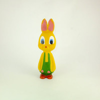 Vintage Yellow Russian Rabbit Toy Rubber Toy Baby Bath Toy, Bunny Tot Rubber Toy, Bunny with Green Union Suit Pinck Ears Easter Bunny, CCCP