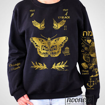 Harry Styles Gold Tattoos Sweatshirt in Black Sweater Crew Neck Shirt – Size S M L XL