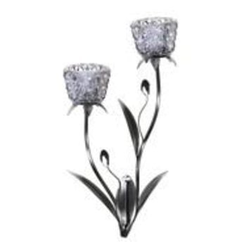Silver Blooms Candle Sconce