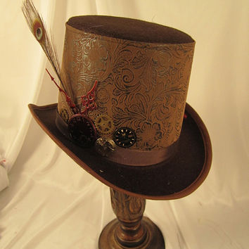 STEAMPUNK TOP HATS, Steamunk Shop, Felt, Brown, Top Hats, Clock Parts, Peacock Feather
