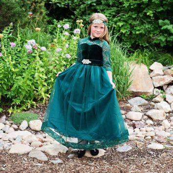 Emerald Green Velvet Vivienne Gown & Sash - Toddlers, Girls & Juniors