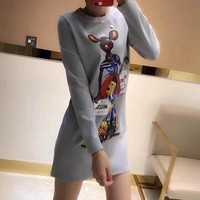 """Moschino"" Women Casual Fashion Cartoon Mouse Print Show Thin Long Sleeve T-shirt Dress"