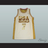 Larry Bird Dream Team White and Gold Basketball Jersey NEW Stitch Sewn