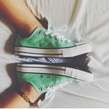 CONVERSE fashion canvas single shoes sports shoes sports shoes low peppermint green