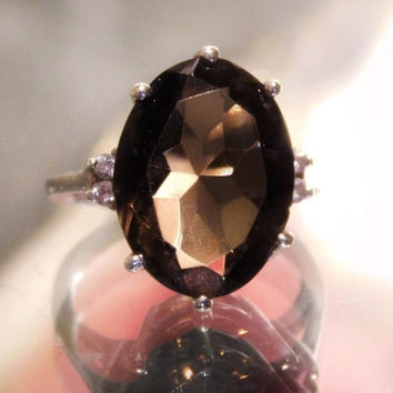 Vintage Smoky Topaz Quartz Ring Diamond Accents Sterling Silver 925 Cocktail Ring Large Faceted Oval Gemstone Approx 10 CTS Size 5 Five Ring
