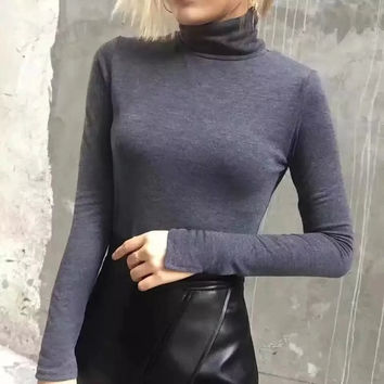 2016 Fashion Women Sweaters and Pullovers Turtle Neck Full Sleeve Slim Casual Female Knitted Sweaters BC8164-1110