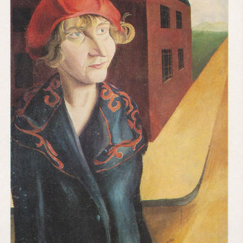 "Vintage German Postcard -- Hans Grundig ""Unemployed Woman from Cigarette Factory"" -- 1982"