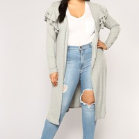 Major Love Ruffle Cardigan - Heather Grey
