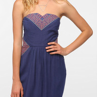 Urban Outfitters - Ecote Embroidered Inset Strapless Dress