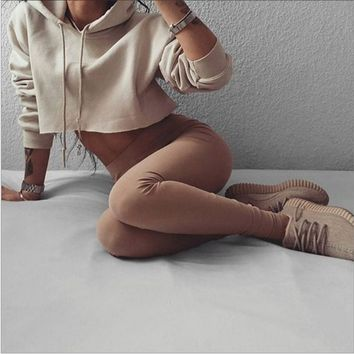 Woman Hooded thin solid color sweater