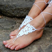 Crochet Beach Wedding Shoes, Crochet Barefoot Sandals, Anklet, Wedding Accessories, Nude Shoes, Yoga socks, Foot Jewelry