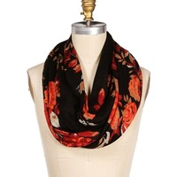 Black Floral Infinity Scarf