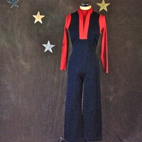 Vintage Jumpsuit 1970's Navy and Red Polyester Star Trek-Charlie's Angel's