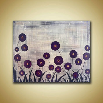 Magenta flowers on field  distress background Modern contemporary landscape original acrylic painting on Gallery Wrapped Canvas,