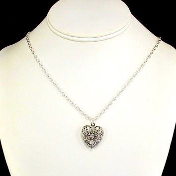 Aromatherapy Necklace - Beautiful Filigree Heart Locket in Silver