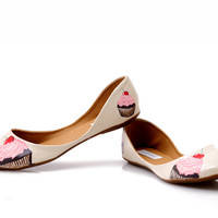 Cream flat shoes Cupcake hand painted flat shoes for women - limited edition