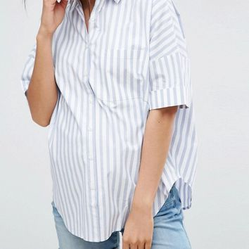 ASOS Maternity Short Sleeve Shirt in Stripe with Pleat Back Detail at asos.com