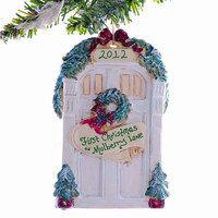 Personalized front door ornament - new home ornament - family door ornament - white front door Christmas ornament