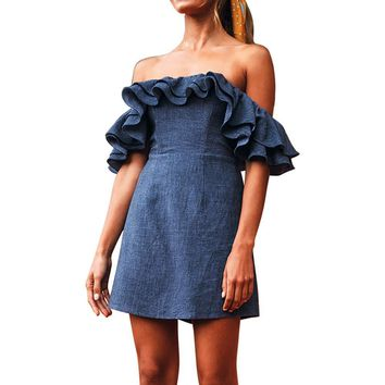 Summer Party Sexy Fashion Dress Women Plus Size Solid Off Shoulder Sexy Slash Neck Ruffles Mini Dresses Women Clothes 2019