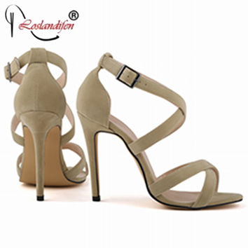 Sexy Cross Tie Open Toe Sandals Factory Customized Size 35-42 High Heels Shoes Woman Party Wedding Summer Shoes