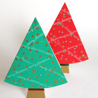 Christmas Tree Card with Rhinestones - Holiday Card in a Shape of Christmas Tree - Christmas Card - Available in Red or Green