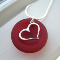 Valentine's Day Jewelry - Red Sea Glass Necklace - Sea Glass Jewelry - Red Heart Pendant Necklace - Red Necklace