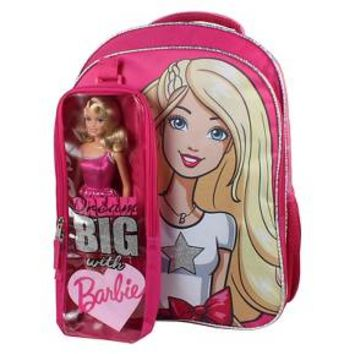 "Mattel Barbie Backpack with Bonus Barbie Doll and Detachable Carrying Case - Pink (16"") : Target"