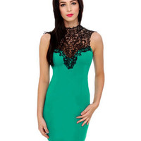 Romantic Lace Dress - Teal Dress - Open Back Dress - Green Dress - $40.00