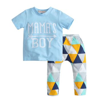 New 2018 Summer Infant Clothing Newborn Baby Boys Clothes Short Sleeve Letter MAMAS BOY Tops+Pants 2Pcs Toddler Outfits